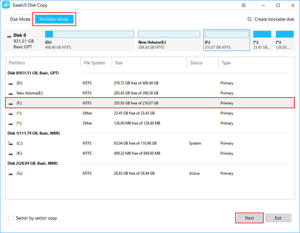 Select source partition to clone .