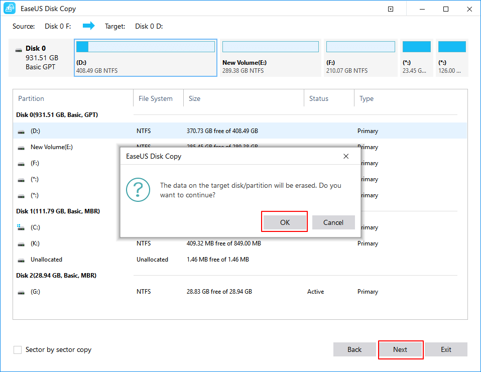 Select the destination partition to clone or copy disk