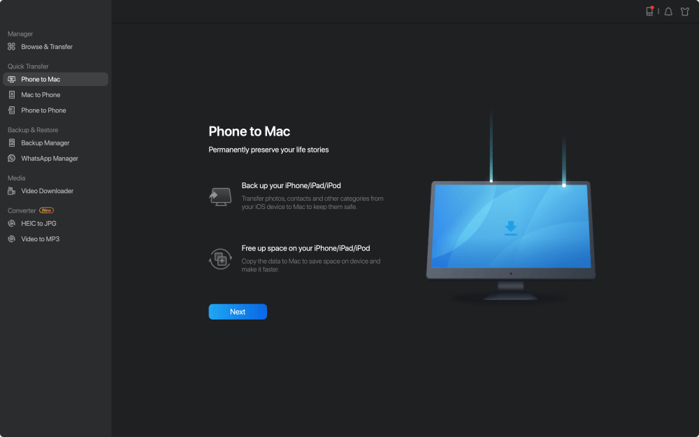 How to transfer contacts from iPhone to Mac - Step 1
