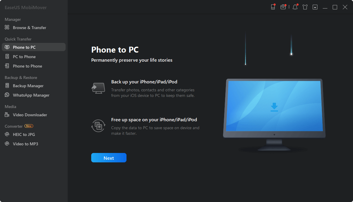 one-click to transfer from iPhone to PC