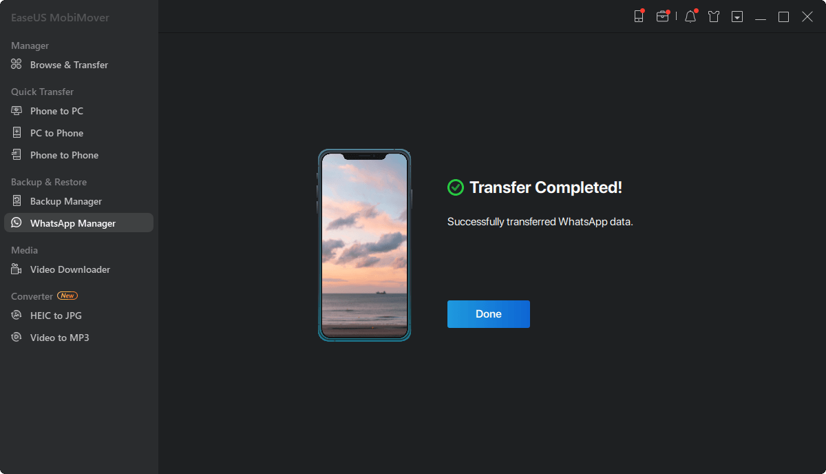 Transfer WhatsApp - transfer complete