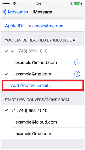 How to add an email address to iMessage