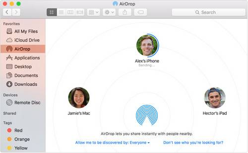 transfer contacts from Mac to iPhone with AirDrop