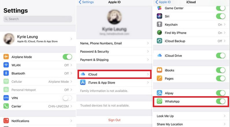 Backup WhatsApp Messages to iCloud