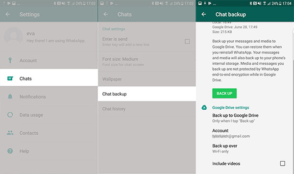 Backup WhatsApp Messages on Android