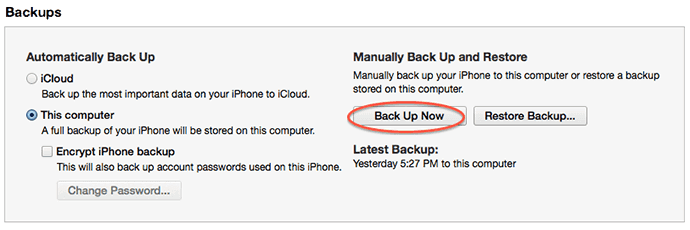 backup ipod with itunes