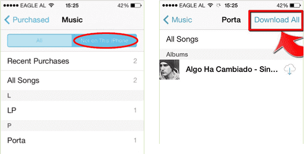 Get music from iCloud to iPhone via iTunes Store
