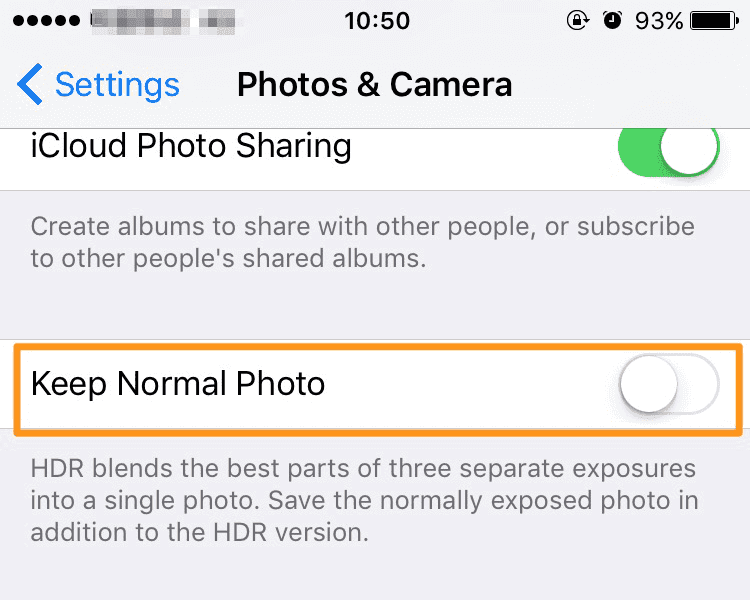 Free up space on iPhone/iPad - save HDR photos only