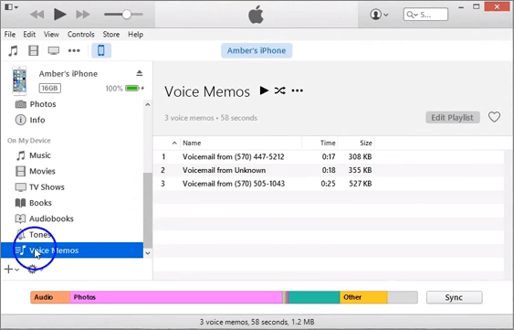 Backup iPhone Voicemail to PC via iTunes.