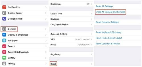 reset all the data on iphone