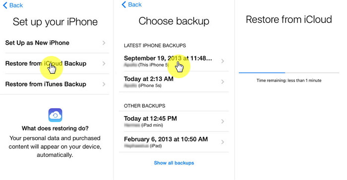the steps restore photos from icloud backup