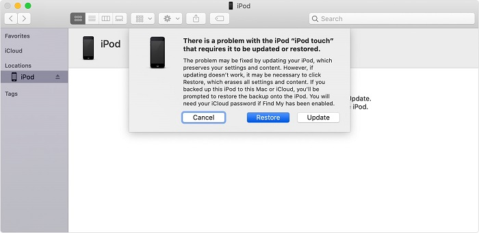 Restore iPod from iTunes