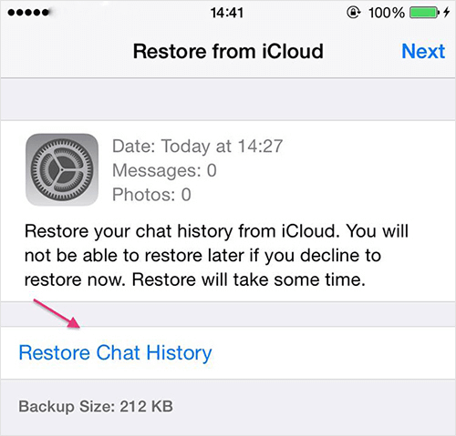 Restore WhatsApp Chat from iCloud