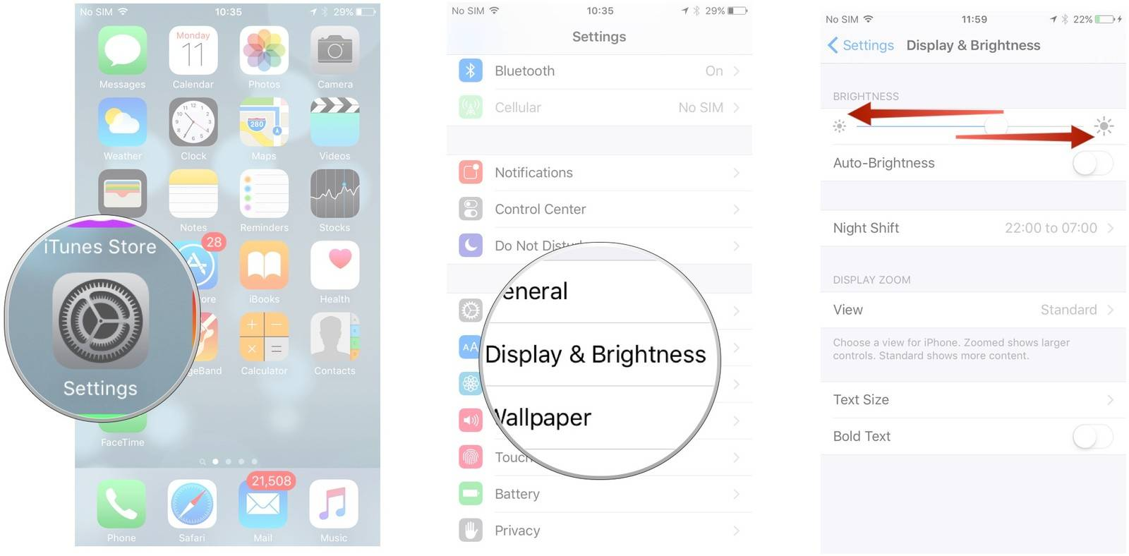 Save battery on iPhone/iPad/iPod Touch - Reduce brightness