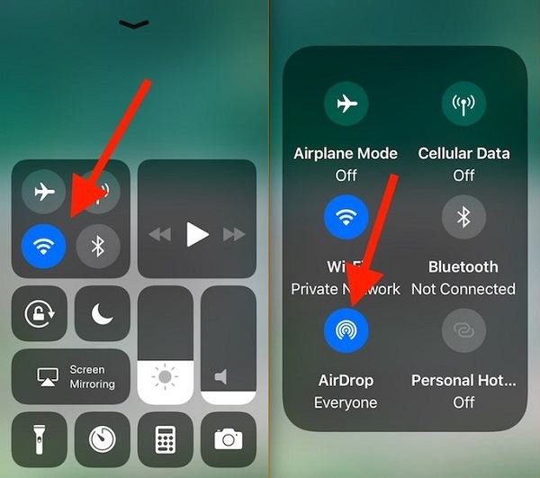 How to turn on AirDrop on iPhone 8/iPhone X in iOS 11