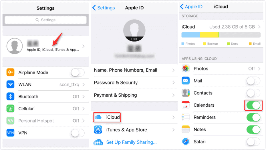 How to sync iPhone and iPad calendar - iOS 10.3 or later
