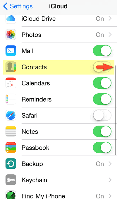 Turn on Contacts on your iPhone