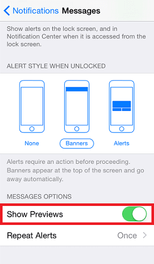 How to turn on/off message preview
