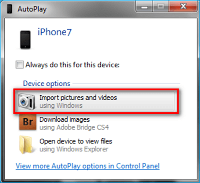 Fixes for AutoPlay Import Pictures Not Working on Windows 7