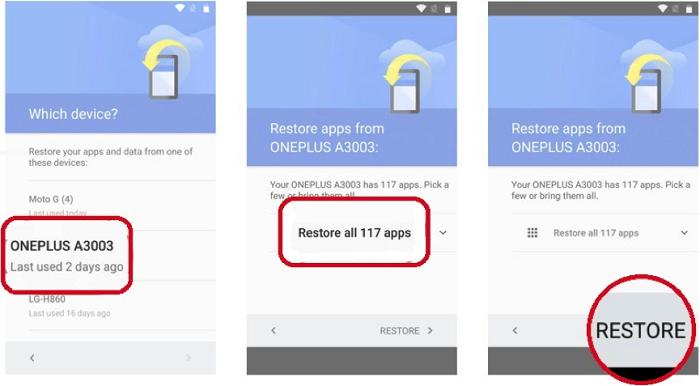 Restaurar el teléfono Android desde la cuenta de Google