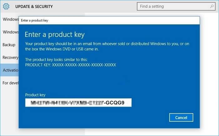 قم بتنشيط Windows 10 بعد تثبيته على قسم قرص GPT