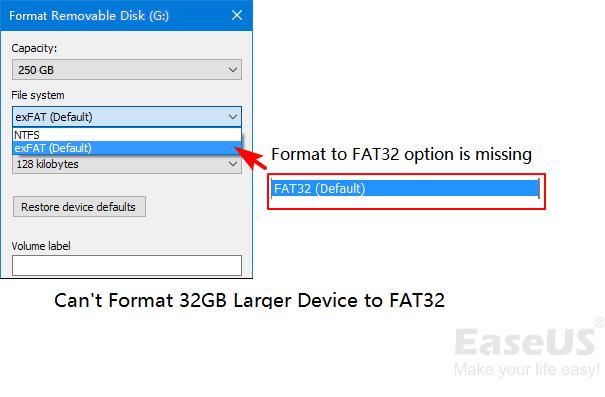 كيفية تنسيق جهاز كبير إلى FAT32