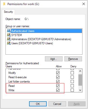 تغيير إذن القراءة فقط في خصائص windows