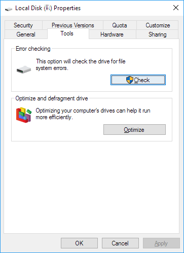 check disk errors in Windows 10 drive tool in Propertities