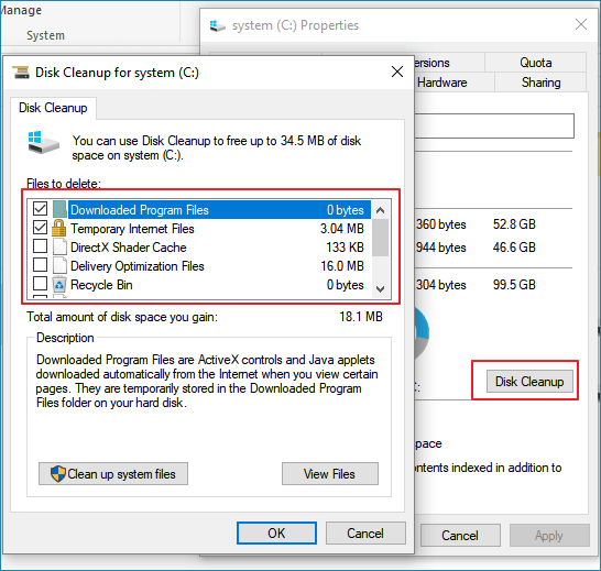 Clean C drive with disk cleanup utility.