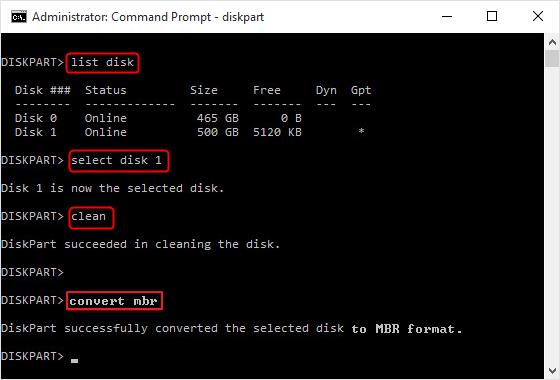 كيفية تحويل gpt إلى mbr في diskpart
