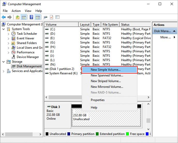 إنشاء قسم على SSD
