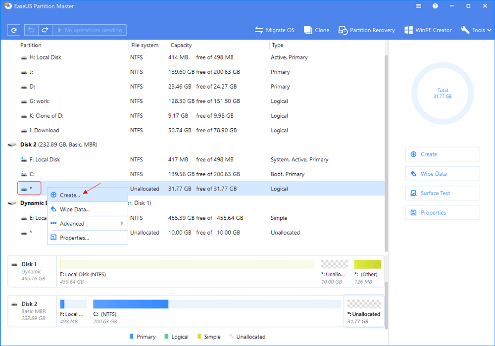 create partition on unallocated space on invisible external hard drive