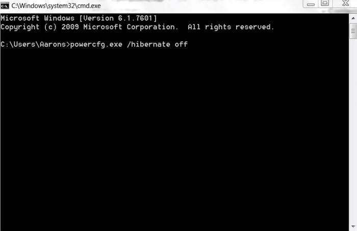حذف الملف hiberfil.sys