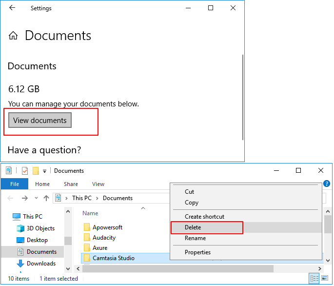 Select and delete useless large files from Documents folder.