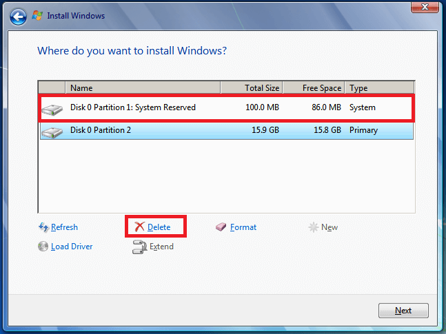 Fix Windows Could Not Format a Partition on Disk 0 - Delete and create new partitions