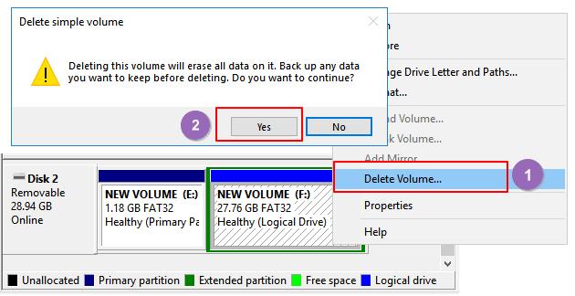 Supprimez les partitions USB.