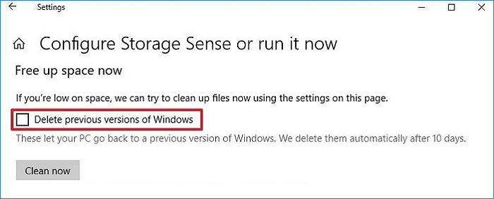 قم بإزالة Windows.old باستخدام مستشعر التخزين