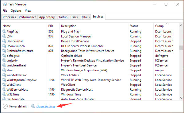 multiple service host in task manager
