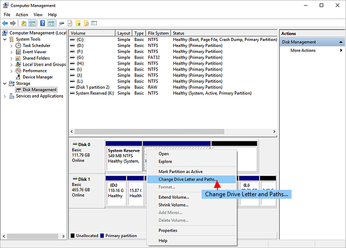 change sd card drive letter and paths
