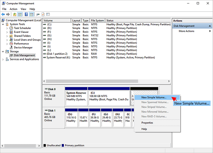 Create partition with disk management