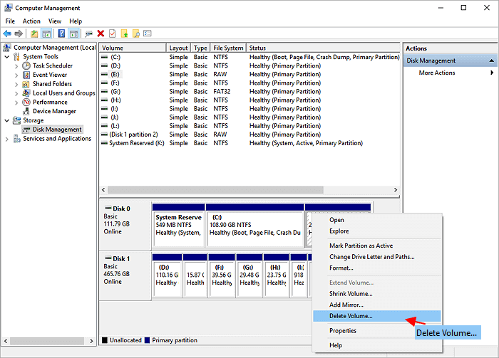 Delete partition with Disk Management