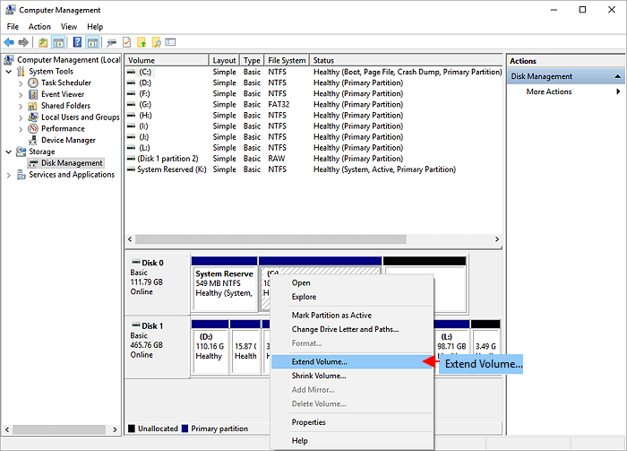 Extend partition with disk management