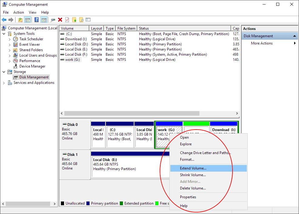 ميزات إدارة قرص Windows