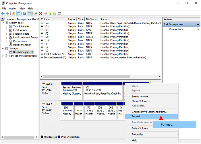 format a partition in Disk Management