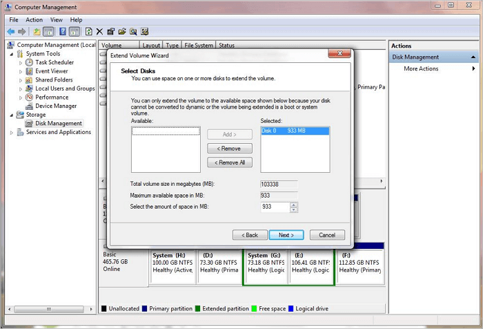 Extend Windows 7 partition with Disk Managenent.