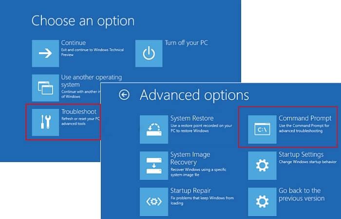 افتح CMD لإصلاح mbr في نظام التشغيل Windows 10