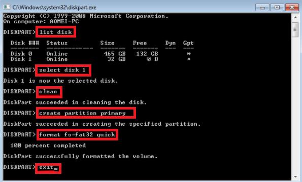 تنسيق محرك أقراص USB قابل للتمهيد عبر cmd