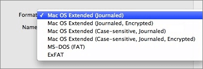 Format external hard drive/USB on Mac.