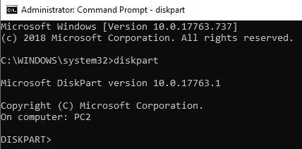 تهيئة diskpart hdd إلى fat32 الخطوة 1