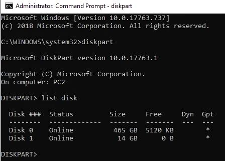 تهيئة diskpart hdd إلى fat32 الخطوة 2